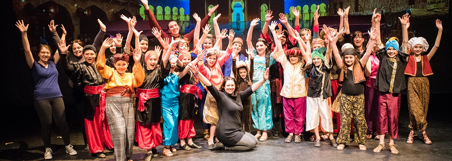 children actors in Aladdin The Musical at Broadway Upstate Children's Performing Arts Center in Hudson Falls, NY