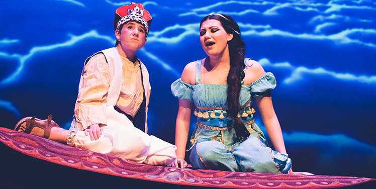 two child actors in the Aladdin musical theater production at Broadway Upstate Children's Performing Arts Center near the Adirondacks